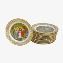 Assiettes en Porcelaine Die Märchen Der Brüder Grimm Vintage de Franklin Porcelain, 1978, Set de 11