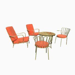 Französischer Gartentisch & 4 Stühle, 1950er