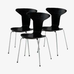 Munkegaard Stühle von Arne Jacobsen für Fritz Hansen, 1950er, 3er set