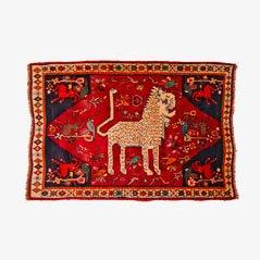 Tappeto vintage con leone, Medio Oriente