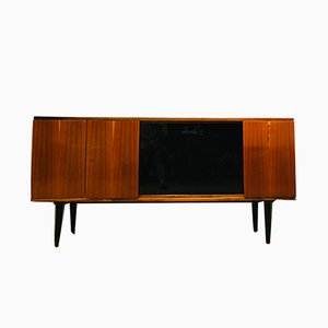 Vintage Glass and Walnut Sideboard, 1970s