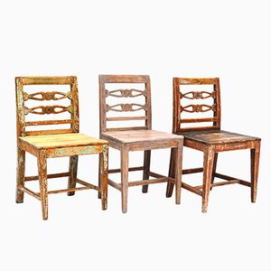 19th-Century Swedish Pine Dining Chairs, Set of 3