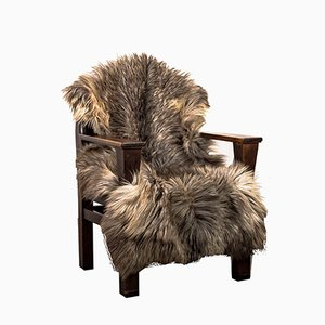 Pinewood Armchair with Fur in the Style of Adolf Loos, 1930s