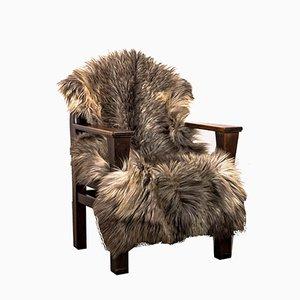 Poltrona in pino con pelliccia, anni '30