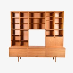 Large Teak Wall Unit by Kai Kristiansen for FM Feldballe Møbelfabrik, 1960s
