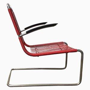 Modell 411 Armlehnstuhl mit rotem Sitz aus Kunststoff & Stahlrohrgestell von Gispen, 1930er