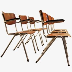 Set of Six Industrial School Chairs