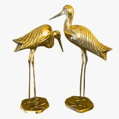 Brass Bird Statuettes, 1960s, Set of 2