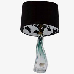 Green Glass Lamp from Val St. Lambert with Butterfly Shade