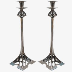 Art Nouveau Nickel Steel Candlesticks, Set of 2