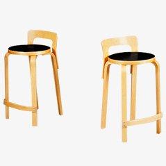Vintage Barhocker von Alvar Aalto für Artek, 2er Set