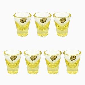 Bicchieri in vetro giallo di Rudolfova Sklarna, Cecoslovacchia, anni '60, set di 7