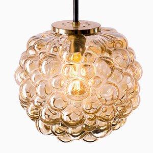 Grande Lampe à Suspension Bubble Vintage en Verre Ambré par Helena Tynell pour Limburg