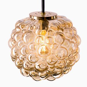 Large Vintage Bubble Pendant Lamp in Amber Glass by Helena Tynell for Limburg