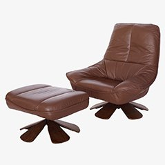 Vintage Leather Swivel Chair with Ottoman