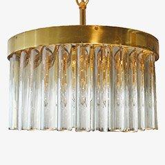 Goldener Vintage Kristallleuchter, 1960er