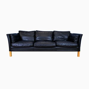 Mid-Century Danish Black Leather 3-Seat Sofa from Mogens Hansen, 1970s