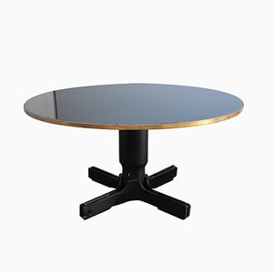 Mid-Century Italian Round Black Glass Table