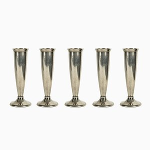 Small Silver-Plated Flower Vases by Gio Ponti for Krupp, 1930s, Set of 5
