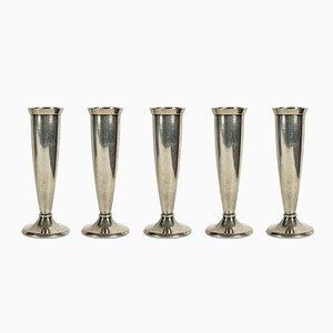 Vasi piccoli placcati in argento di Gio Ponti per Krupp, anni '30, set di 5