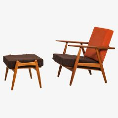 GE-240 Cigar Easy Chair with Stool by Hans Wegner for Getama
