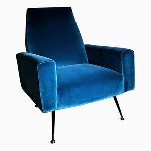 Vintage Italian Armchair in Velvet Ottanio Color