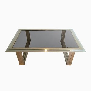 Table Basse en Chrome et Laiton, 1970s