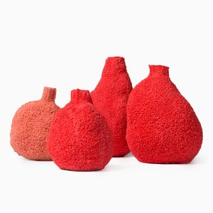 Vases Else en Corail par Michal Fargo, Set de 4