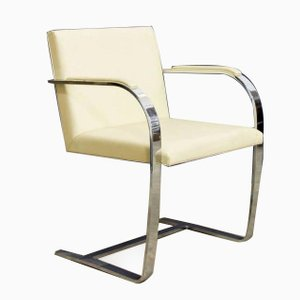 Vintage Brno Chairs in Cream Leather by Ludwig Mies van der Rohe for Knoll, Set of 4