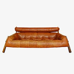 Vintage Leather & Jacaranda Sofa by Percival Lafer, 1950s