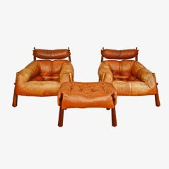 Leather Lounge Chairs & Footstool by Percival Lafer, Set of 3