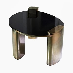 New Moon Hand-Patinated Brass & Wood Veneer Cocktail Coffee Table by Privatiselectionem