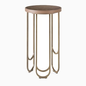 SU 25 Brass Table with a Leather Texture in Pink by 15 West Studio