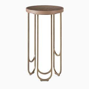 SU 25 Messing Tisch mit Leder Struktur in Pink von 15 West Studio