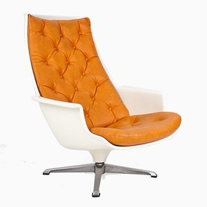 Vintage Scandinavian Modern Swivel Lounge Chair