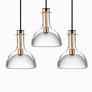 Lampes à Suspension Wolkje M Rose Doré par Fällander Glas pour Akaru, Set de 3