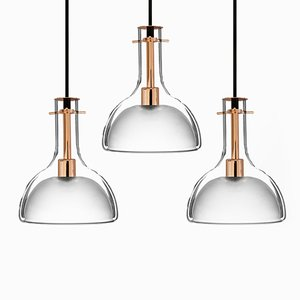 Wolkje M Rose Gold Pendant Lamps by Fällander Glas for Akaru, Set of 3