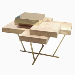 Pixel Table in Oak & Brass - Edition 1 of 10 by Ilia Potemine