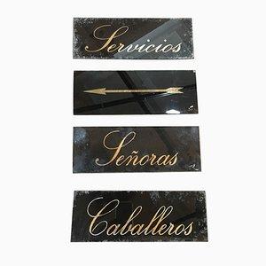 Carteles de servicios españoles vintage. Juego de 4