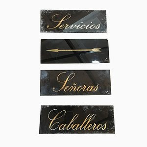 Vintage Spanish Restroom Signs, Set of 4