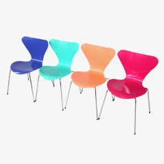 Multicoloured Butterfly Chairs by Arne Jacobsen for Fritz Hansen, Set of 4