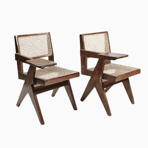 Sillas de escritorio de teca y mimbre de Pierre Jeanneret. Juego de 2