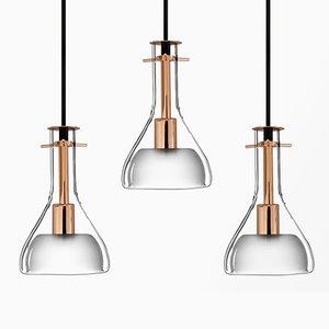 Lampade da soffitto Wolkje S dorate di Fällander Glas per Akaru, set di 3