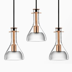 Wolkje S Roségold Deckenlampen von Fällander Glas für Akaru, 3er Set