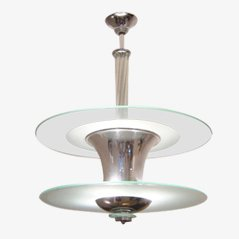 Lámpara colgante en forma de urna de vidrio, años 30