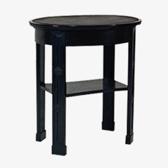 Vintage Bog Oak and Leather Side Table by Josef Margold