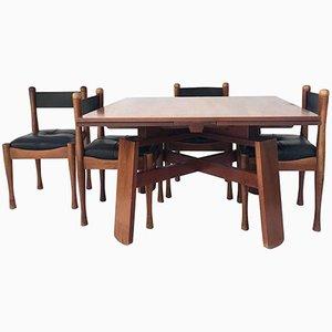 Mesa de comedor con 4 sillas de Silvio Coppola para Bernini, años 60