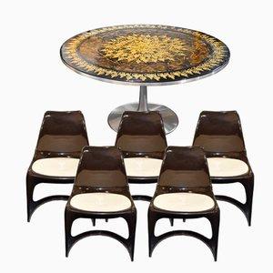 Mid-Century Tulip Dining Table by Poul Cadovious and 5 Chairs by Steen Ostergaard