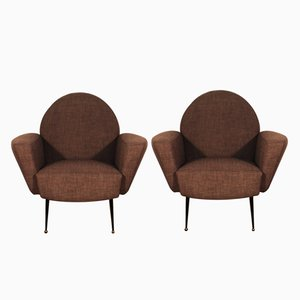 Brown French Club Chairs, 1955, Set of 2
