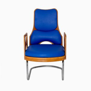 Scandinavian Plywood and Blue Skai Armchair, 1960s